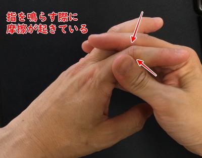 指を鳴らす際に摩擦が起きている